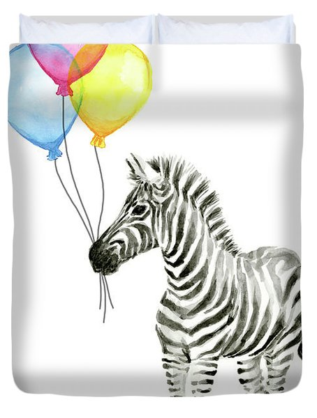Zebra Watercolor With Balloons Duvet Cover
