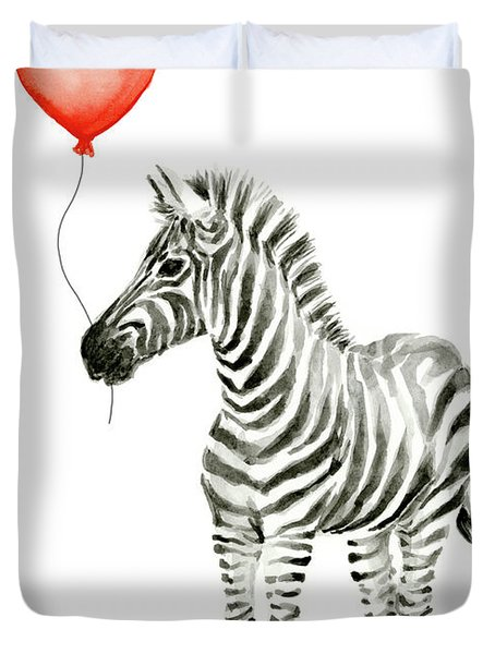 Zebra With Red Balloon Whimsical Baby Animals Duvet Cover