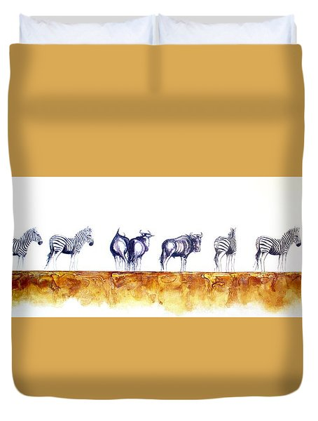 Zebras And Wildebeest 2 Duvet Cover