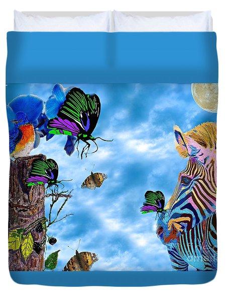Zebras Birds And Butterflies Good Morning My Friends Duvet Cover
