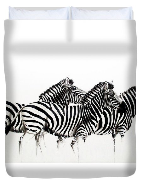 Zebras - Black And White Duvet Cover