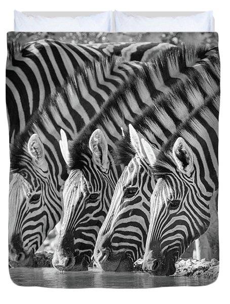 Zebras Drinking Duvet Cover by Inge Johnsson