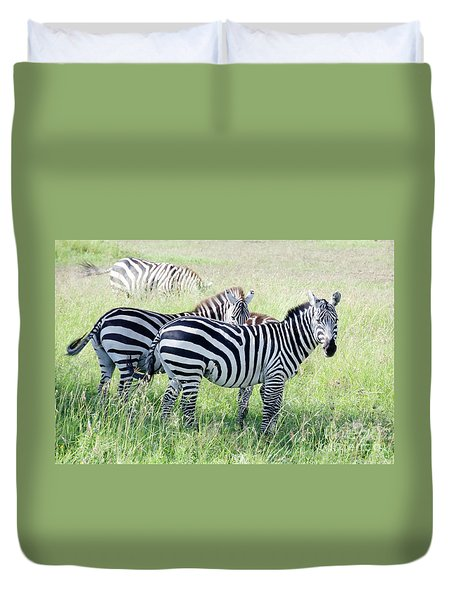 Zebras In Serengeti Duvet Cover by Pravine Chester