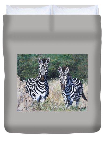Zebras In South Africa Duvet Cover