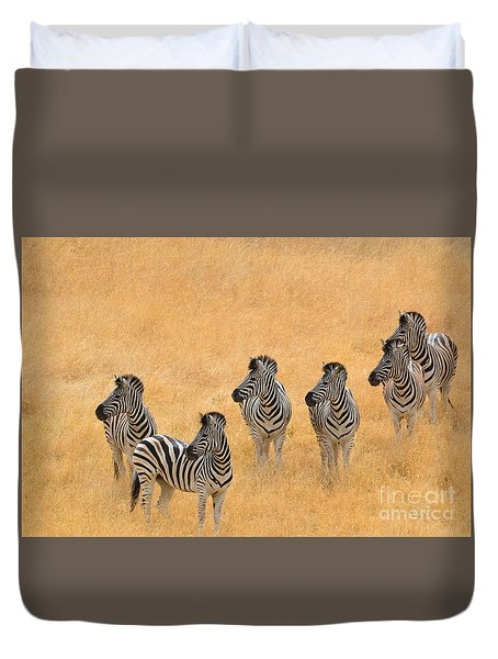 Duvet Cover featuring the photograph Zebras by Laurianna Taylor