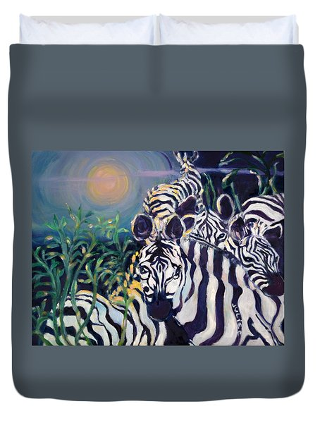 Zebras On The Savanna Duvet Cover