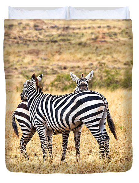 Zebras Resting In The Masai Mara Duvet Cover