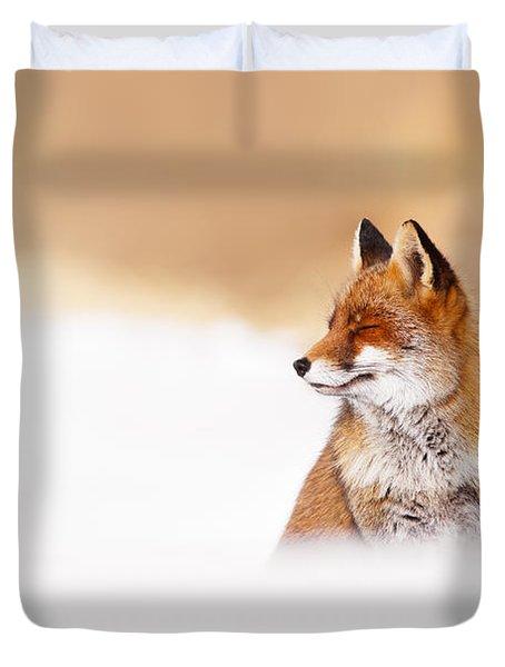 Zen Fox Series - Zen Fox In Winter Mood Duvet Cover