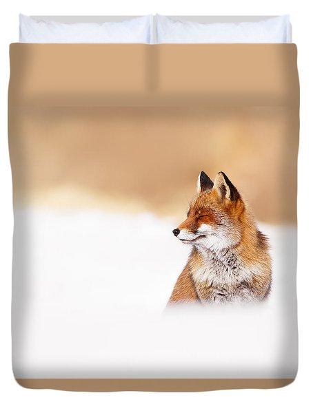 Zen Fox Series - Zen Fox In Winter Mood Duvet Cover by Roeselien Raimond