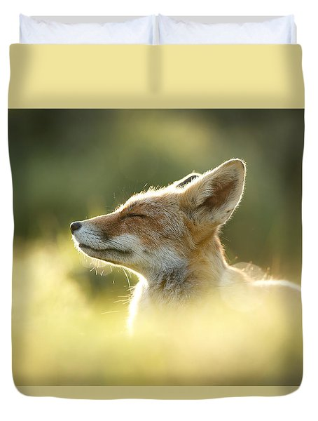 Zen Fox Series - Zen Fox Up Close Duvet Cover by Roeselien Raimond