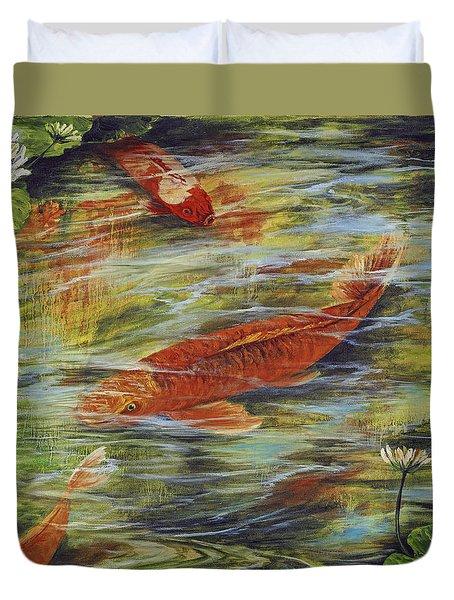 Duvet Cover featuring the painting Zen Garden  by Darice Machel McGuire