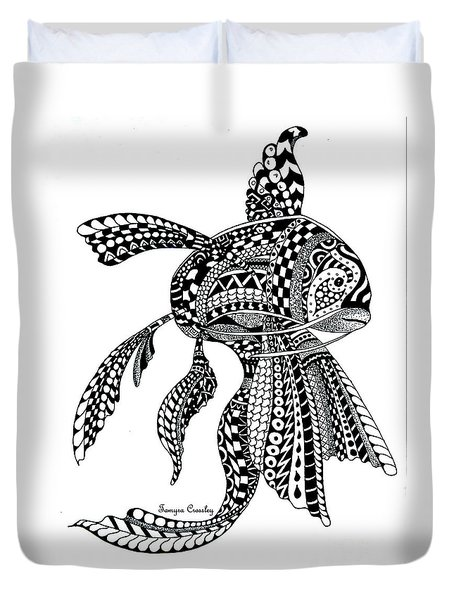 Zen Goldfish Duvet Cover by Tamyra Crossley