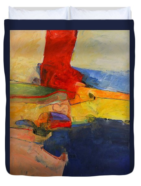 Duvet Cover featuring the painting Zen Harbor by Cliff Spohn