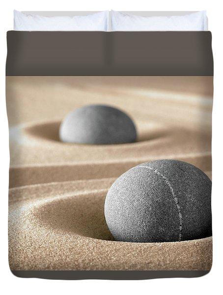 Duvet Cover featuring the photograph Zen Stone Garden by Dirk Ercken