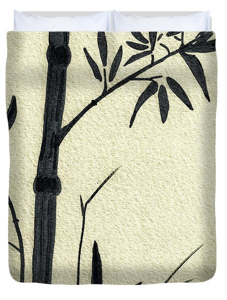 Zen Sumi Antique Bamboo 1a Black Ink On Fine Art Watercolor Paper By Ricardos Duvet Cover