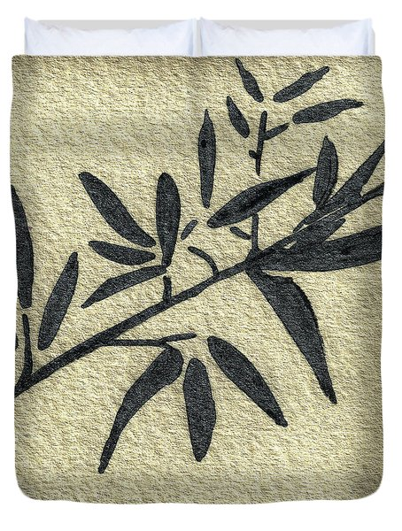 Zen Sumi Antique Botanical 4a Ink On Fine Art Watercolor Paper By Ricardos Duvet Cover