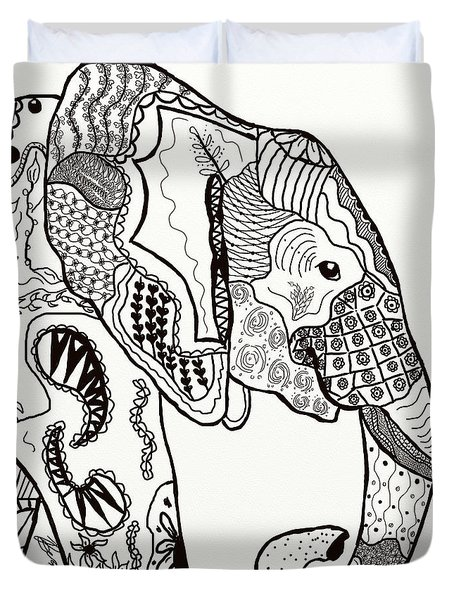 Zentangle Elephant Duvet Cover