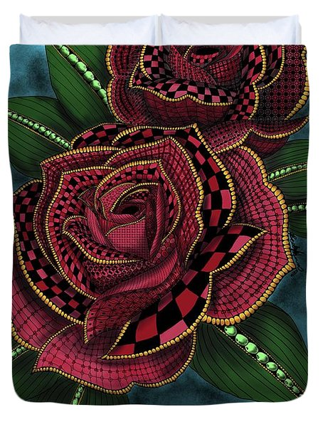 Zentangle Tattoo Rose Colored Duvet Cover