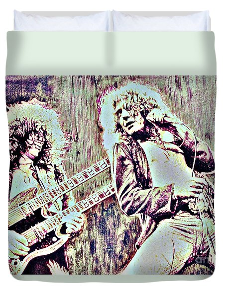 Zeppelin Concert On Wood  Duvet Cover by Natalie Ortiz