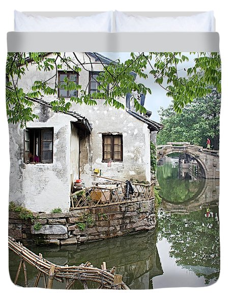 Zhouzhuang - A Watertown Duvet Cover