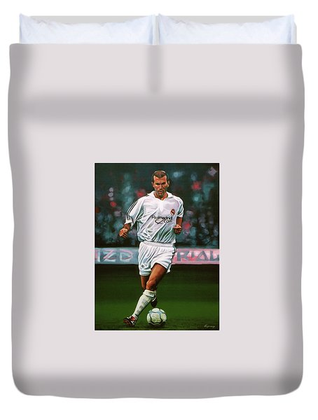 Zidane At Real Madrid Painting Duvet Cover by Paul Meijering