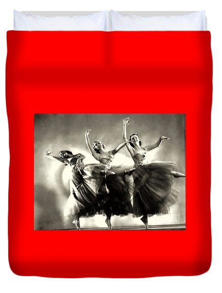 Ziegfeld Model  Dancers By Alfred Cheney Johnston Black And White Ballet Duvet Cover