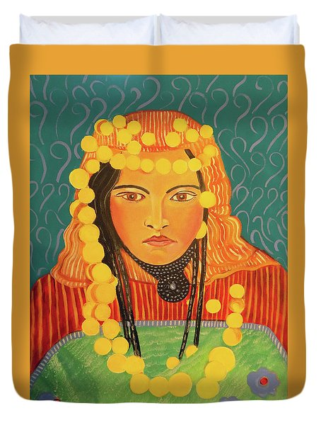 Duvet Cover featuring the painting Zina by John Keaton