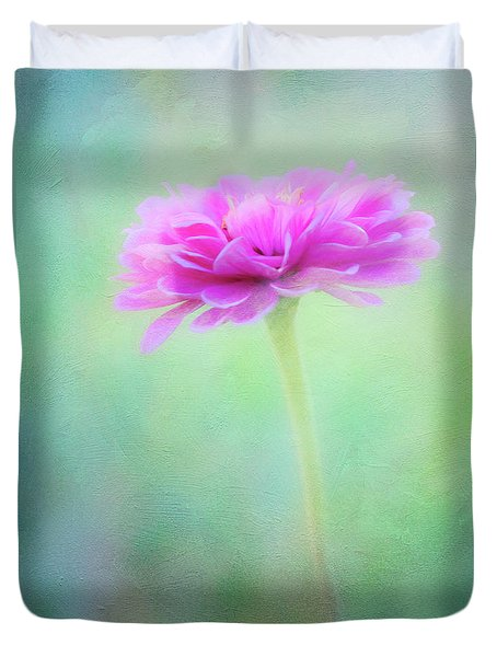 Painted Pink Zinnia Duvet Cover
