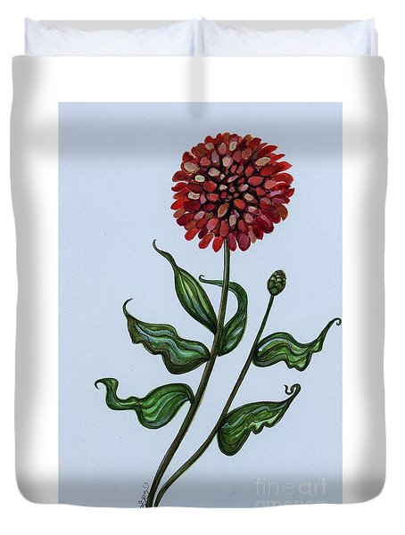 Duvet Cover featuring the painting Zinnia Botanical by Elizabeth Robinette Tyndall