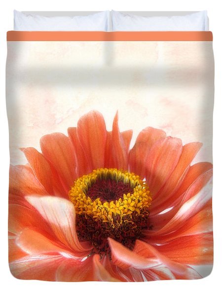 Duvet Cover featuring the photograph Zinnia Bright by Louise Kumpf