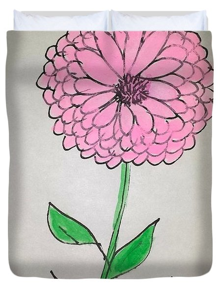 Duvet Cover featuring the painting Zinnia by Margaret Welsh Willowsilk