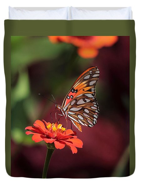 Zinnia With Butterfly 2668 Duvet Cover
