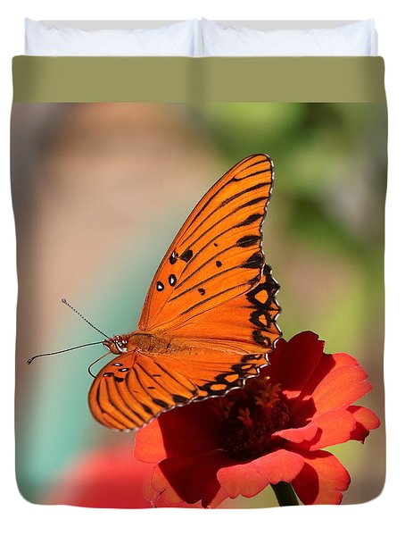 Zinnia With Butterfly 2669 Duvet Cover