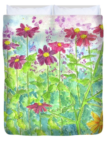 Duvet Cover featuring the painting Zinnias  by Cathie Richardson