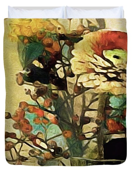 Duvet Cover featuring the mixed media Zinnias From The Garden by Susan Maxwell Schmidt