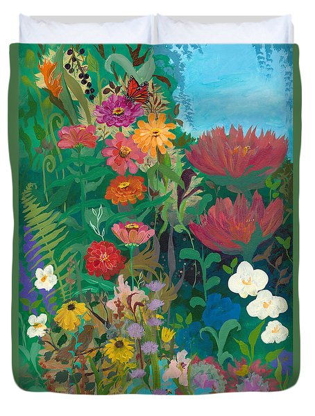 Zinnias Garden Duvet Cover