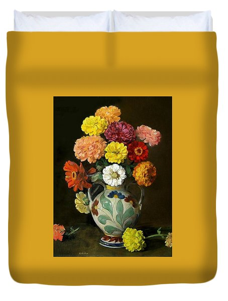Zinnias In Decorative Italian Vase Duvet Cover