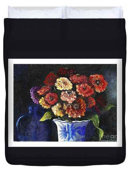 Zinnias Duvet Cover by Marlene Book