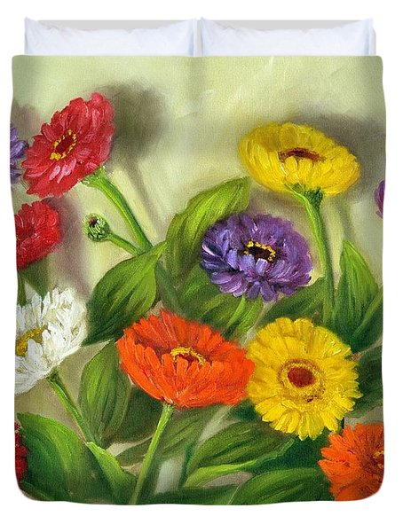 Duvet Cover featuring the painting Zinnias by Randol Burns