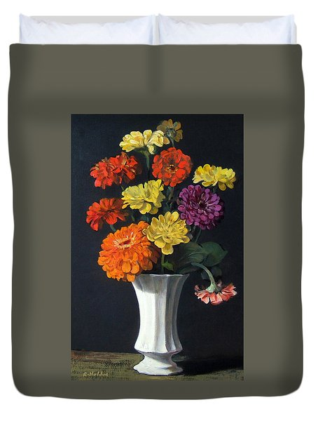 Zinnias Showing Their True Colors In White Vase Duvet Cover