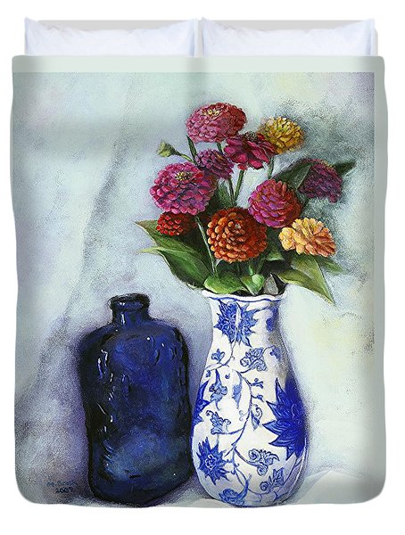 Zinnias With Blue Bottle Duvet Cover by Marlene Book