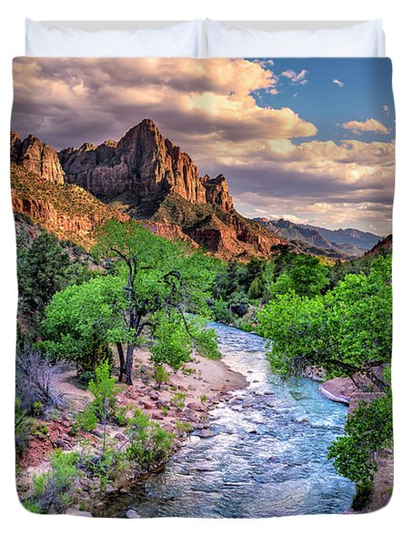 Zion Canyon At Sunset Duvet Cover
