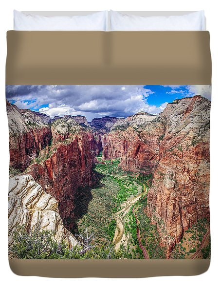 Zion Canyon From Angel's Landing Panoramic Duvet Cover