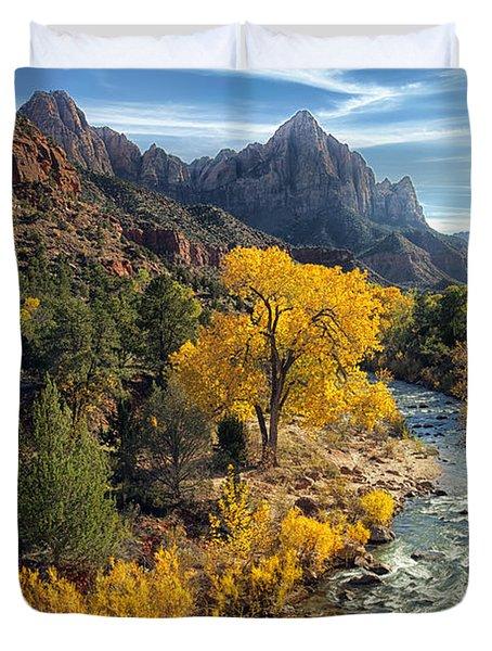 Duvet Cover featuring the photograph Zion Fall Foliage by Gigi Ebert