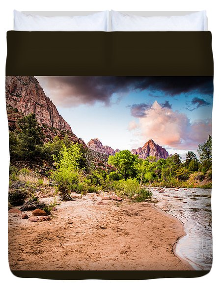 Zion National Park At Dawn Duvet Cover