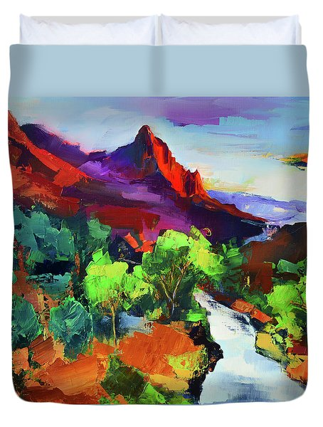 Duvet Cover featuring the painting Zion - The Watchman And The Virgin River Vista by Elise Palmigiani