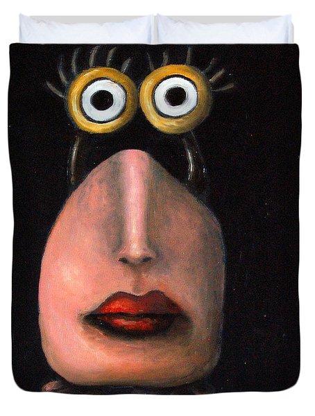 Zoe 2 The Little Alien Duvet Cover by Leah Saulnier The Painting Maniac