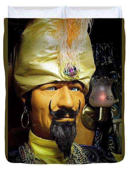 Duvet Cover featuring the photograph Zoltar by Chuck Staley