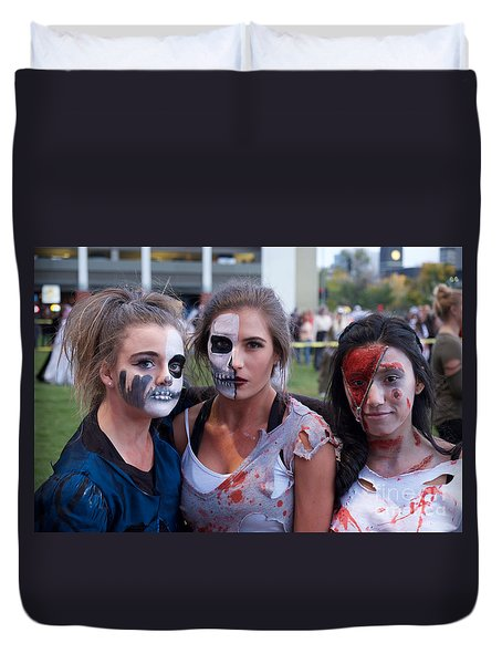 Duvet Cover featuring the photograph Zombie Girls by Vinnie Oakes