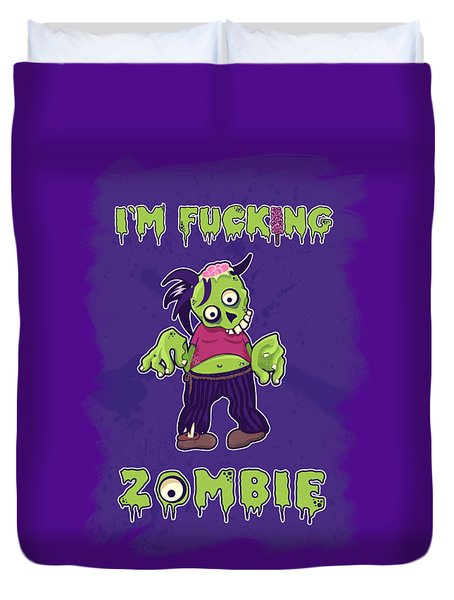 Duvet Cover featuring the digital art Zombie by Julia Art